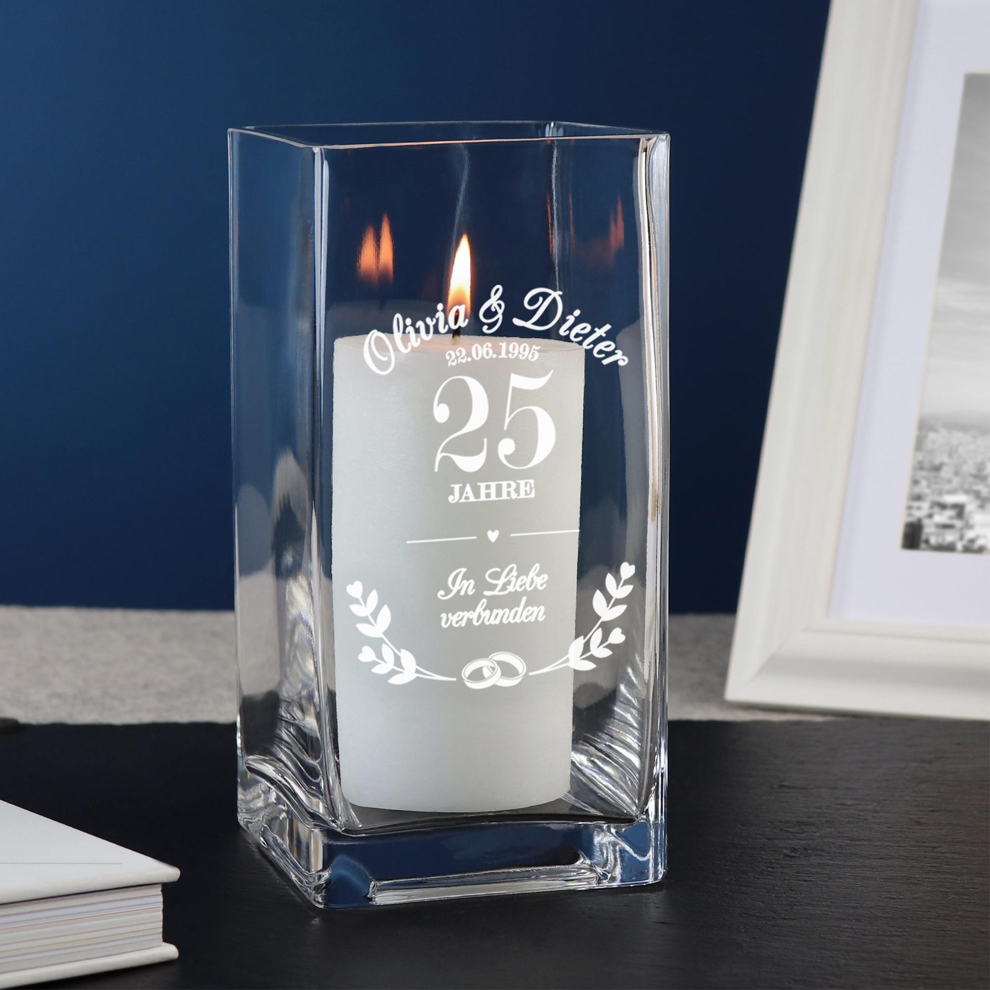 Vase mit Gravur Silberhochzeit - Personalisiert