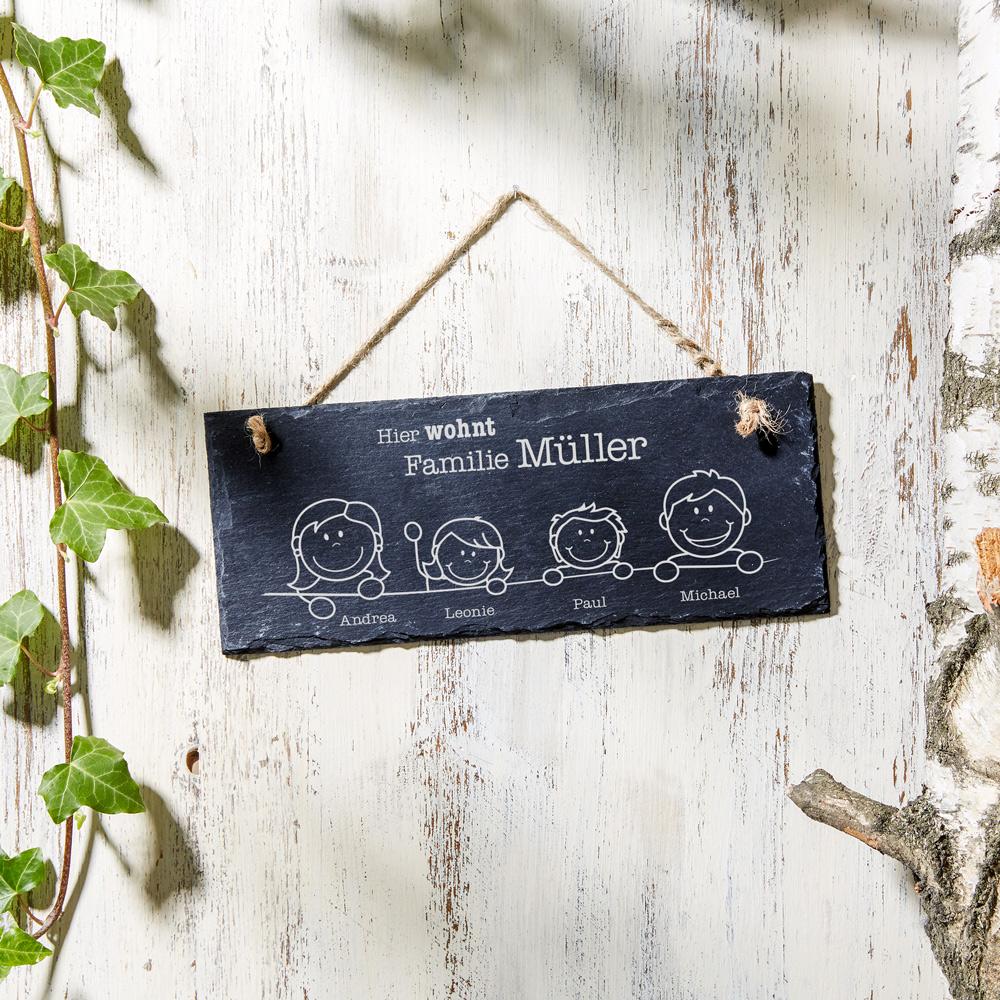 Schiefertafel mit Gravur - Hier Wohnt - Schieferplatte - Personalisiert