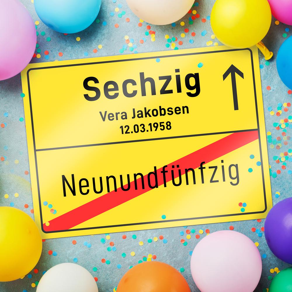 Personalisiertes Ortsschild zum Geburtstag - 60 Jahre