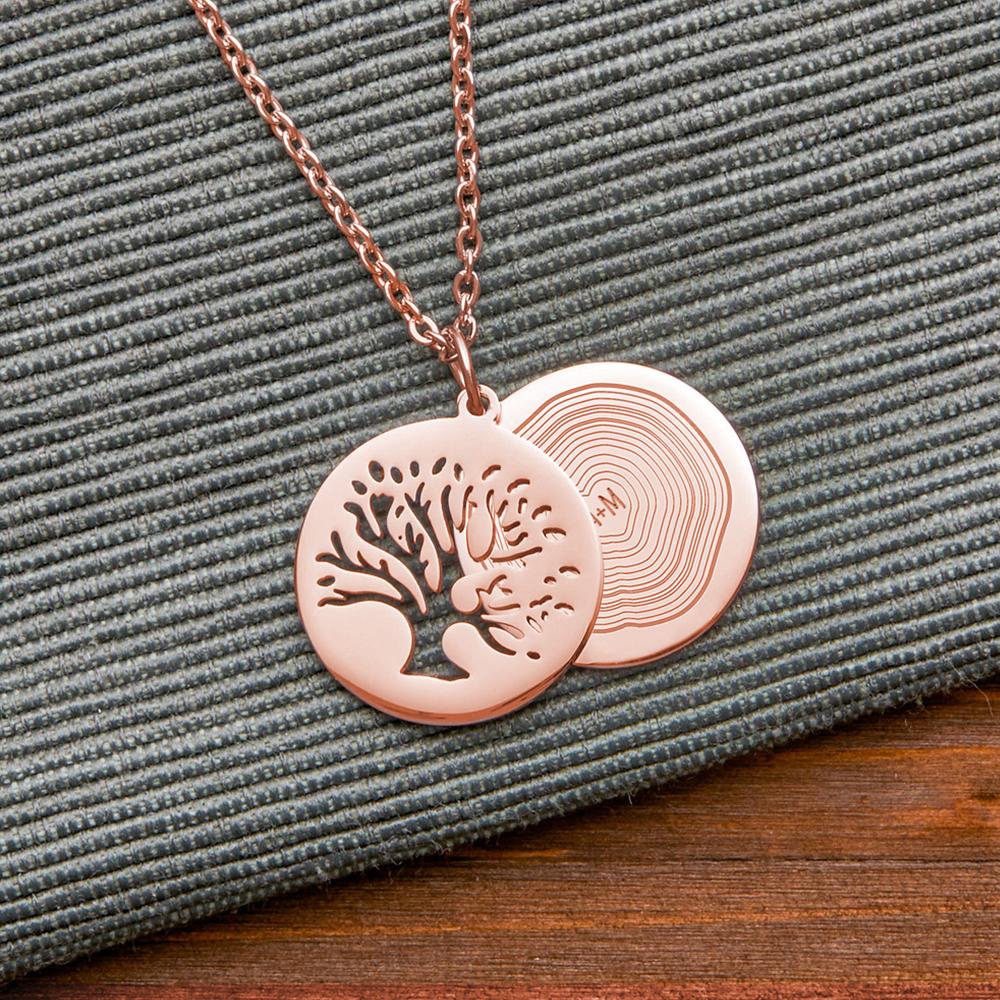 Halskette mit Gravur - Baum und Jahresringe - Roségold - Personalisiert