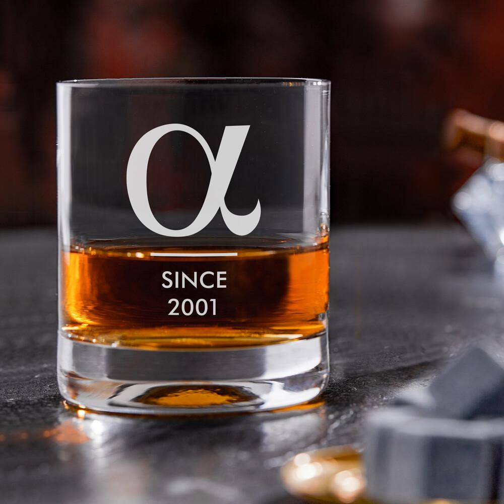Whiskyglas mit Gravur Alpha - Personalisiert