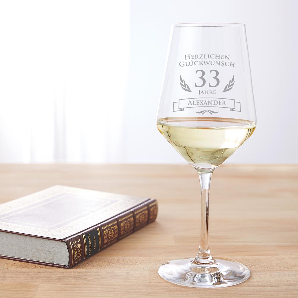 Weißweinglas mit Gravur - Weinglas zum Geburtstag - Personalisiert