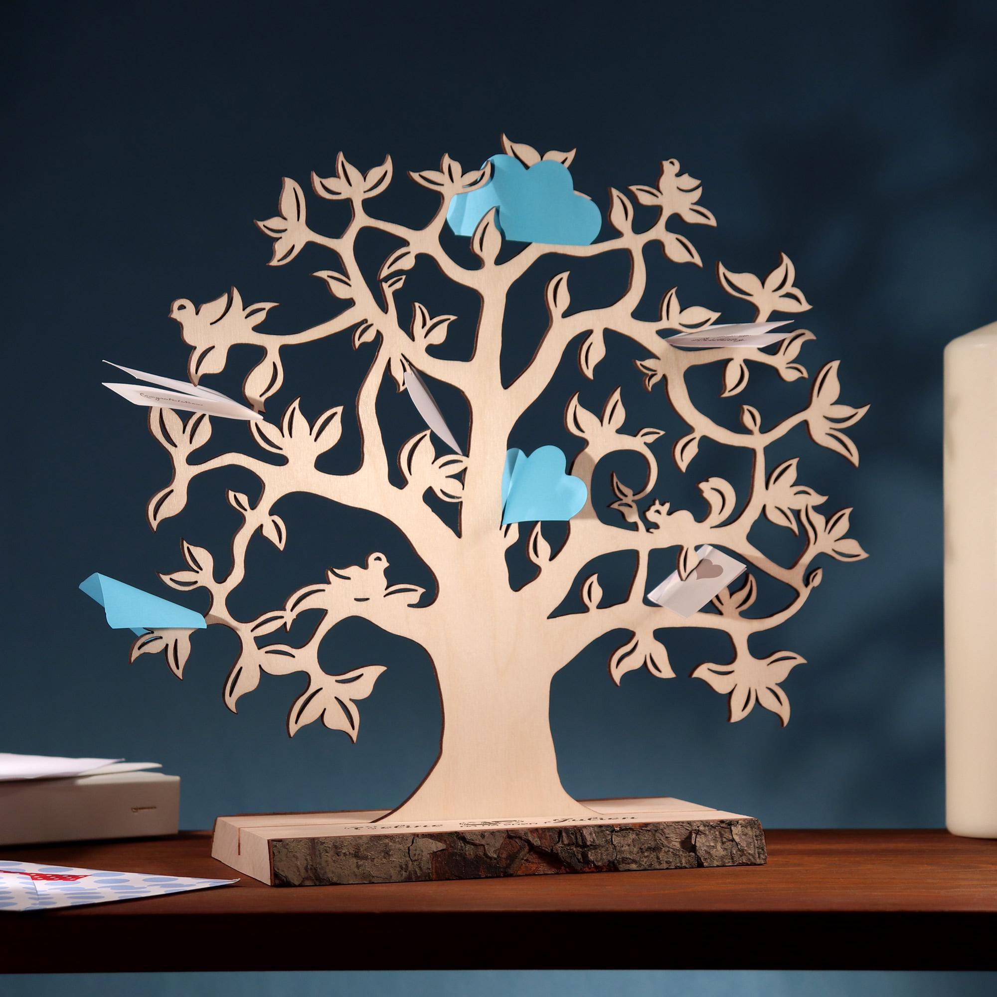 Geldbaum mit Gravur zur Hochzeit - Ringe - Personalisiert - Klein