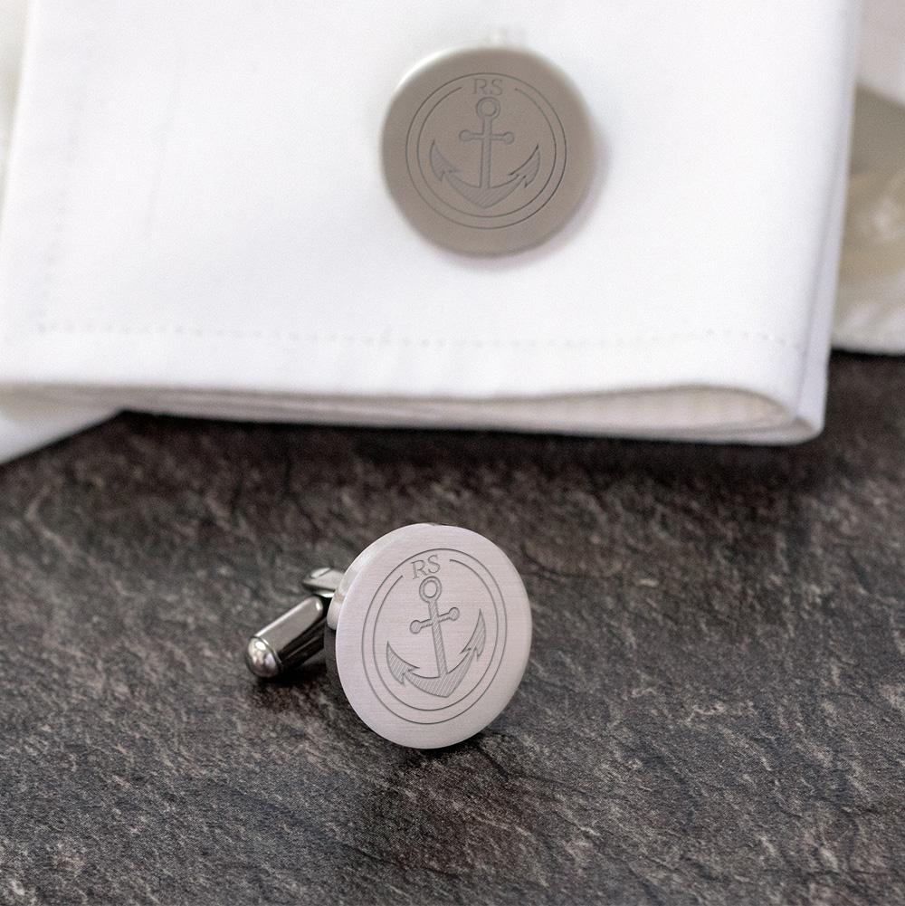 Runde Manschettenknöpfe mit Gravur - Anker - Silber