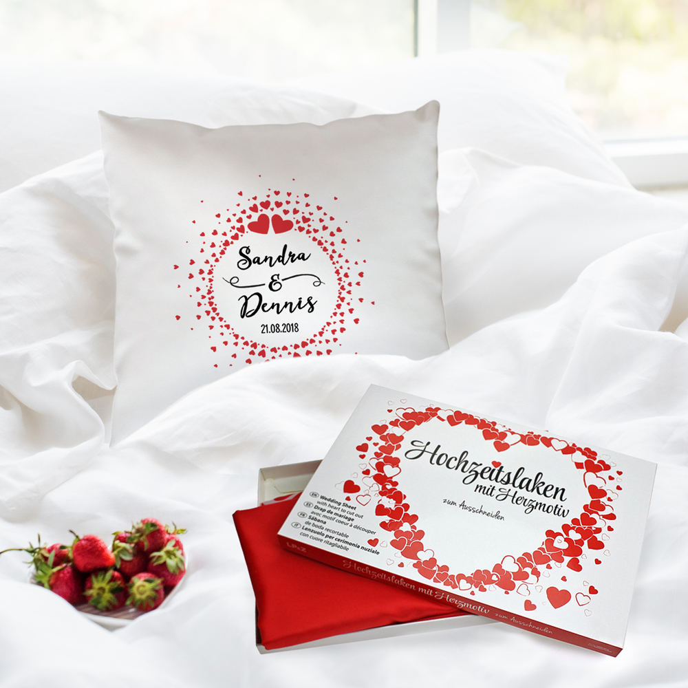 Hochzeitsset - Hochzeitslaken und bedrucktes Kissen - Herz Kreis