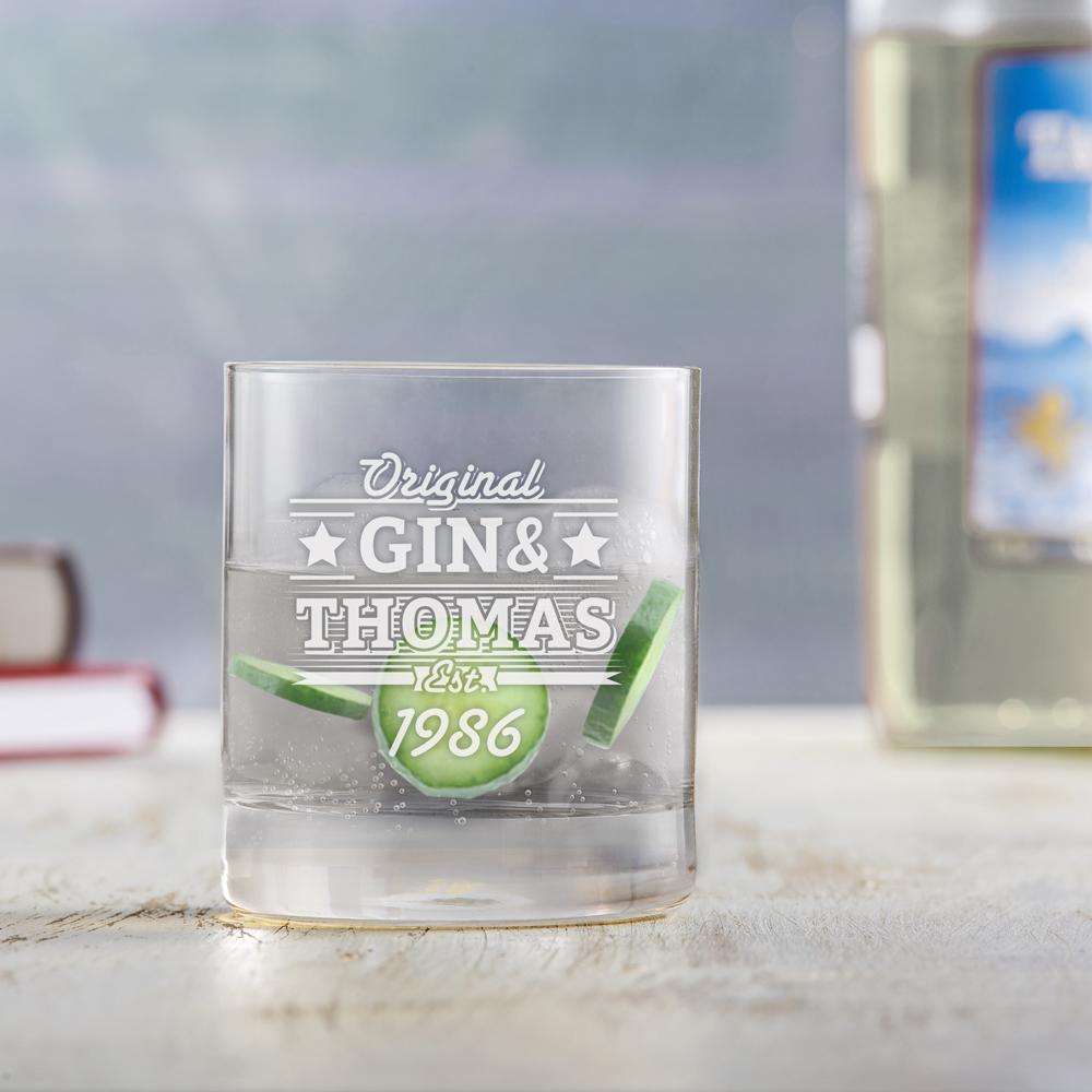 Ginglas mit Gravur - Gin & Geburtstag - Personalisiert