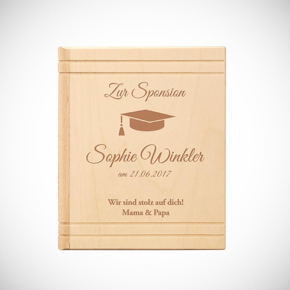 Spardose Buch aus Holz mit Gravur zur Sponsion - Personalisiert