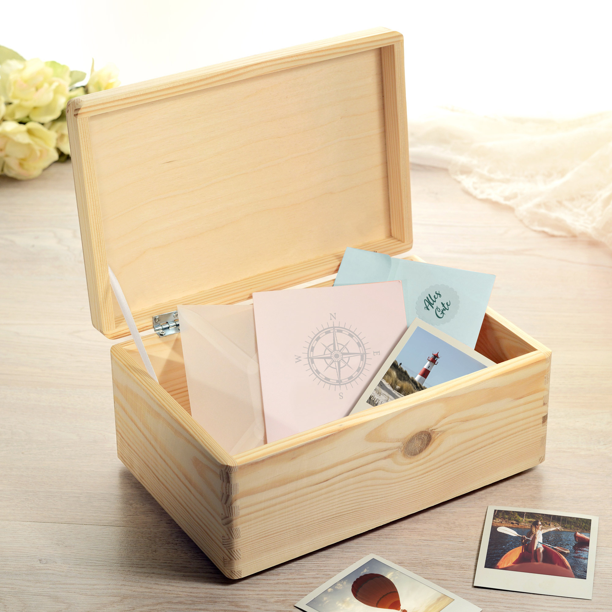 Erinnerungsbox mit Gravur - Kompass - Personalisiert