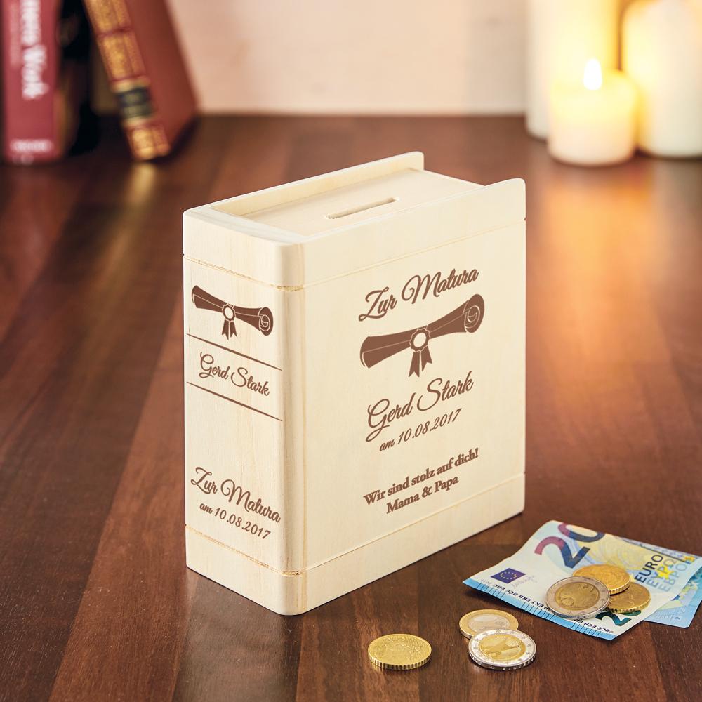 Spardose Buch aus Holz mit Gravur zur Matura - Personalisiert