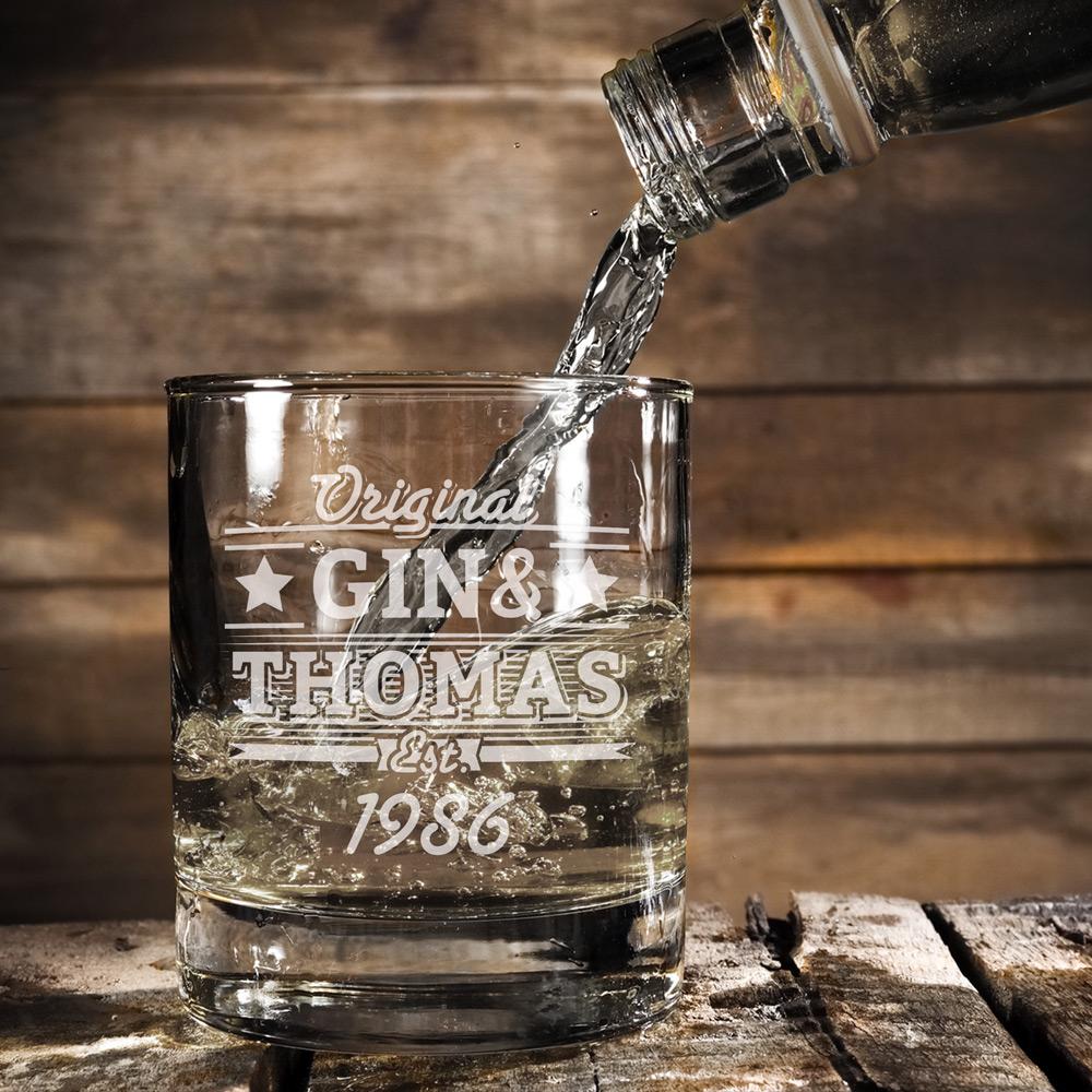Ginglas mit Gravur - Gin und Geburtstag - Personalisiert