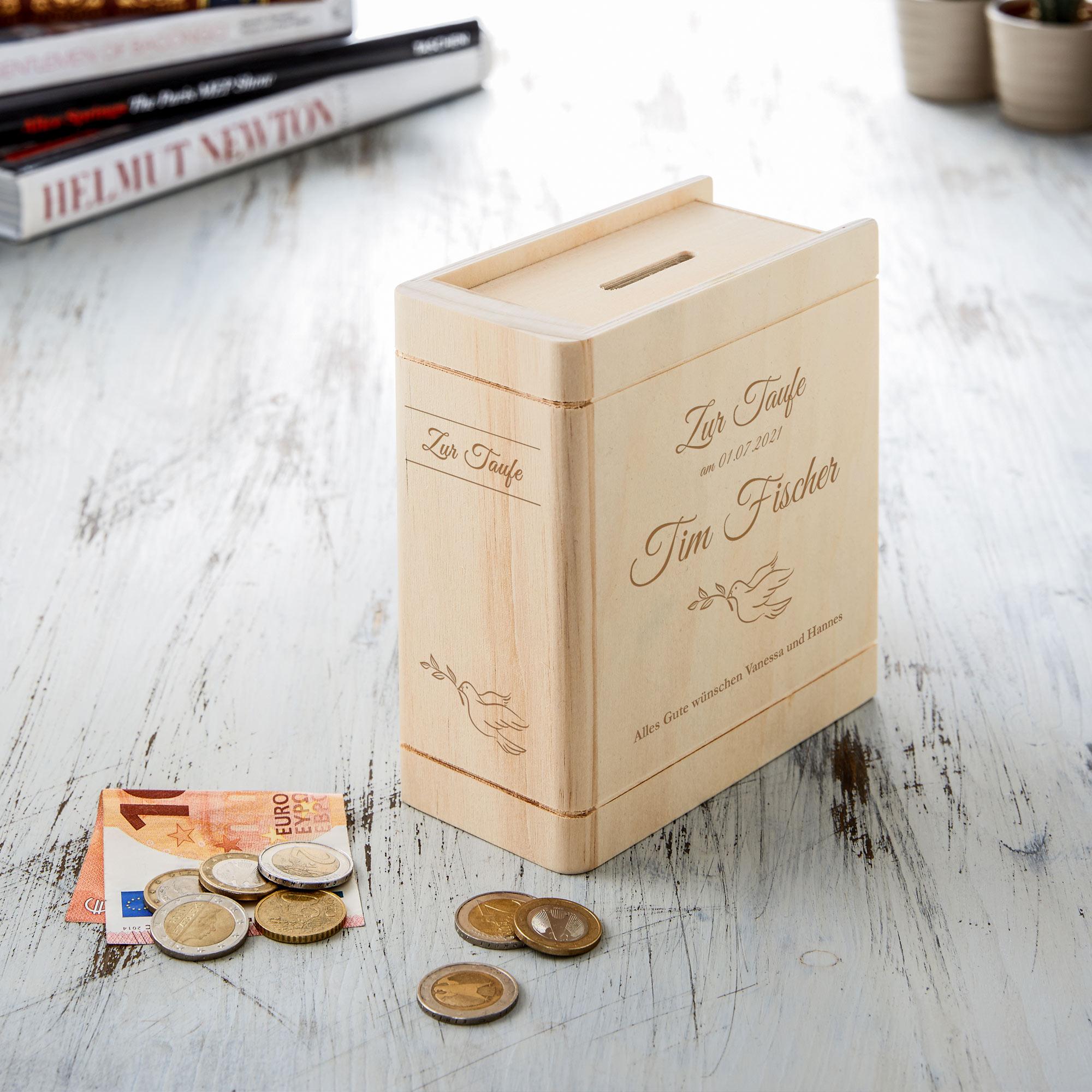Spardose Buch aus Holz mit Gravur zur Taufe - Personalisiert