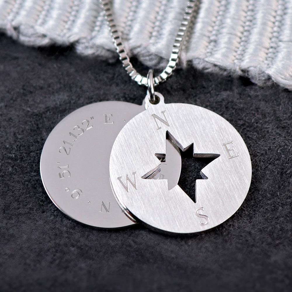 Halskette mit Gravur - Kompass und Geokoordinaten - Silber - Personalisiert