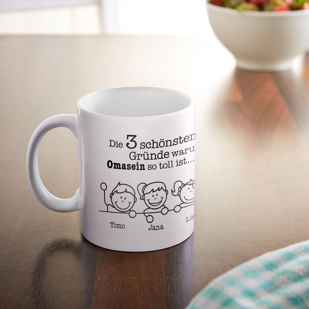 Bedruckte Tasse - Warum ich es liebe Oma zu sein - Personalisiert