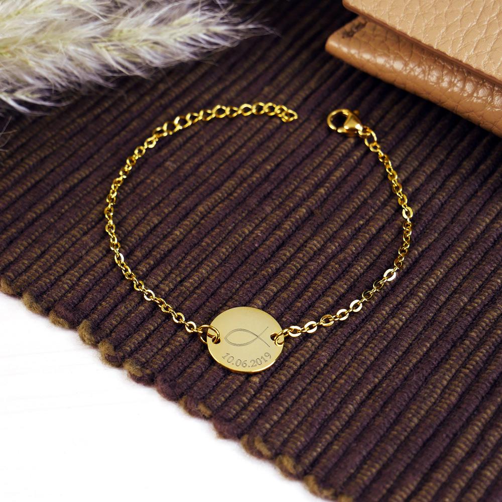 Armkettchen mit Gravur - Gold - Fisch - Personalisiert