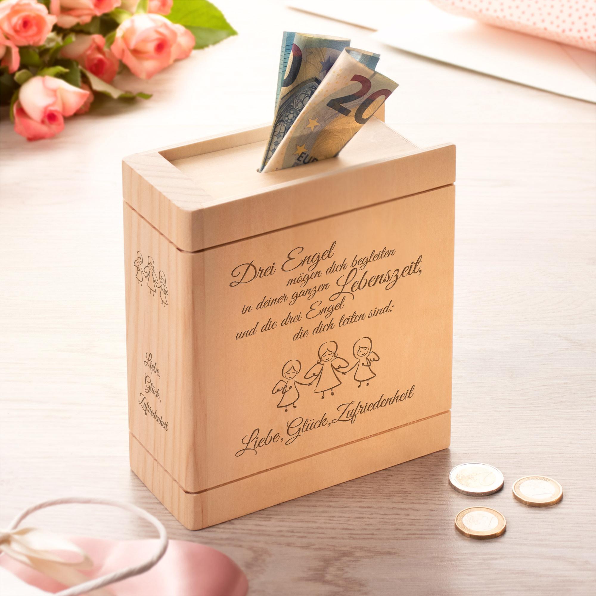 Spardose Buch aus Holz mit Gravur - Engel