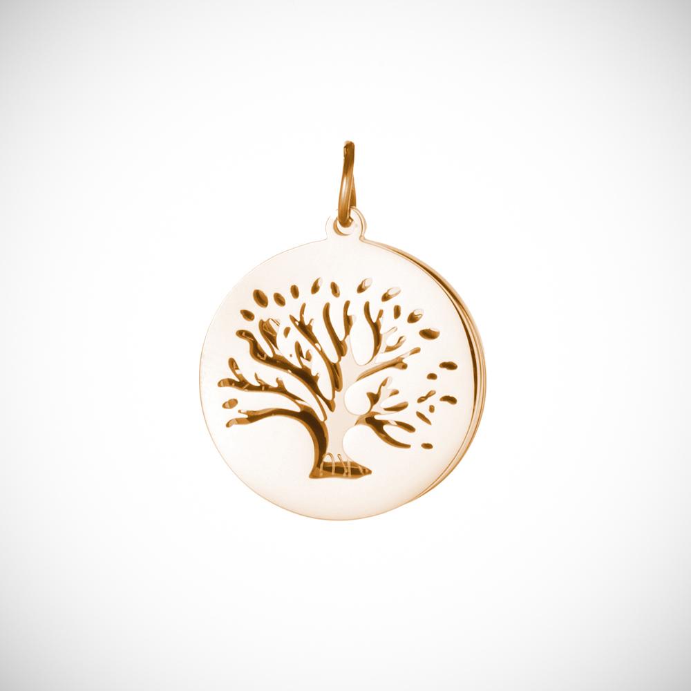 Halskette mit Gravur - Baum und Namen - Gold - Personalisiert
