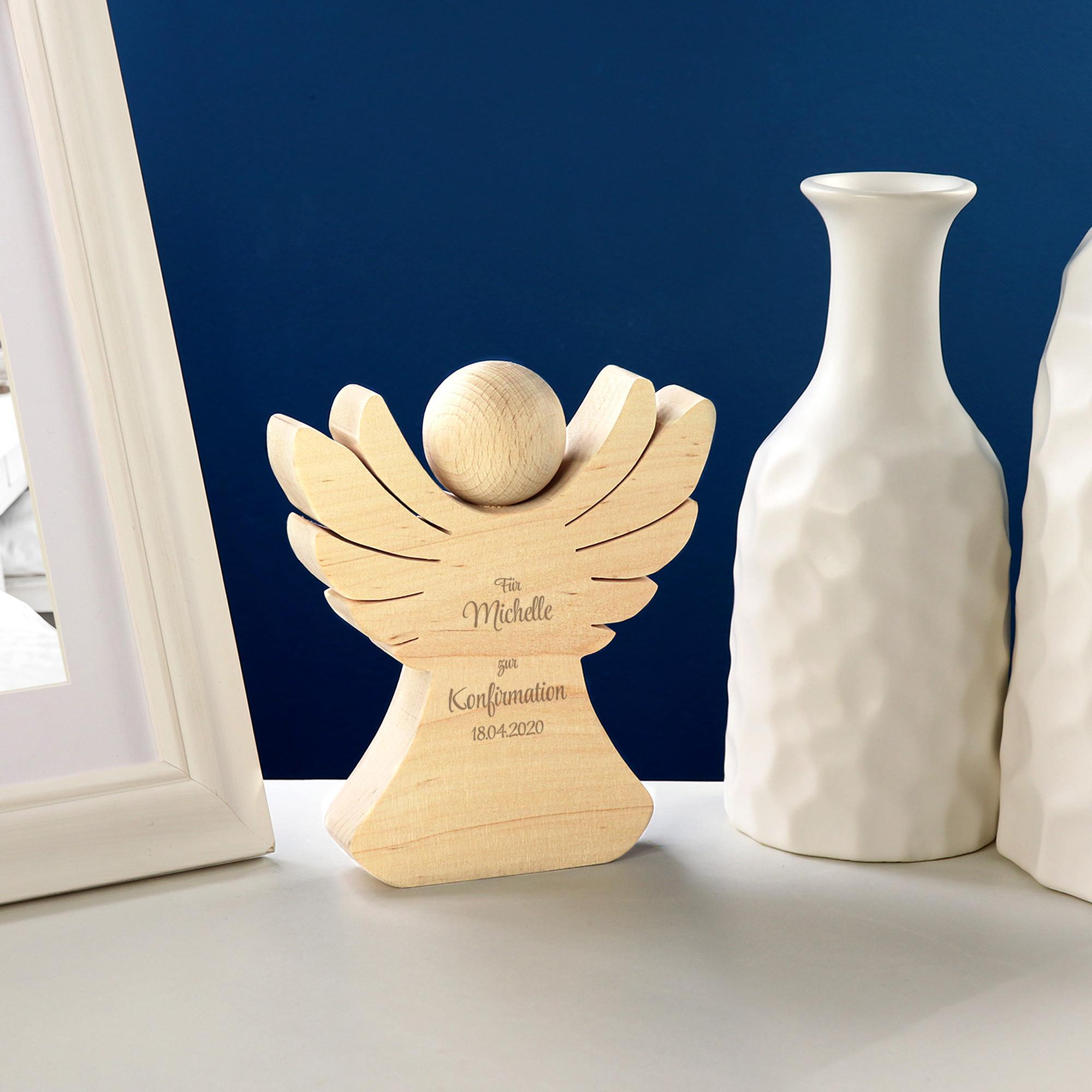 Engel aus Holz mit Gravur zur Konfirmation - Personalisiert