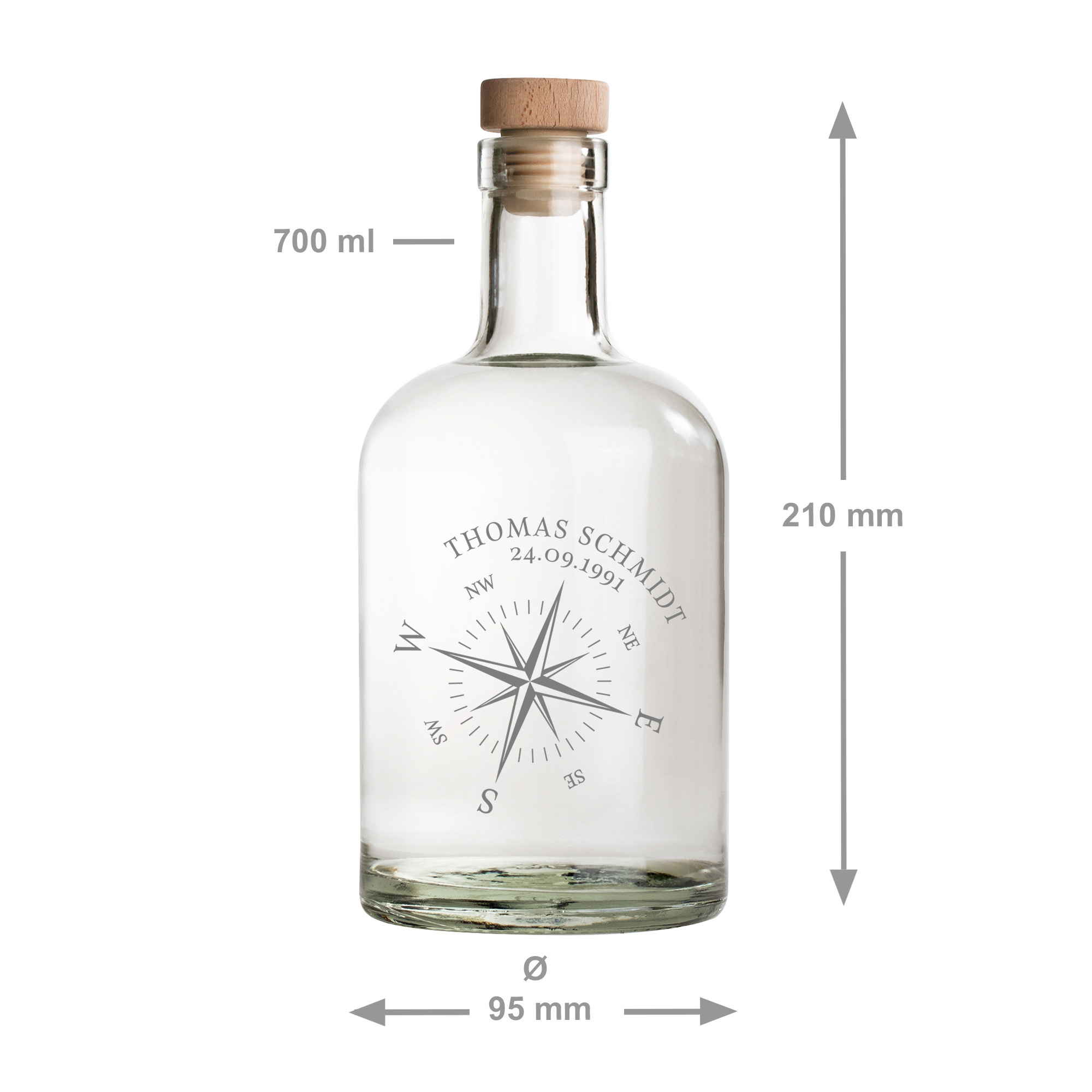 Glaskaraffe mit Gravur - Kompass - Personalisiert