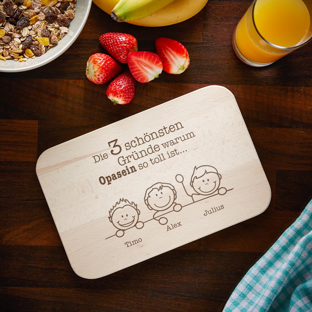Frühstücksbrett mit Gravur - Warum ich es liebe Opa zu sein