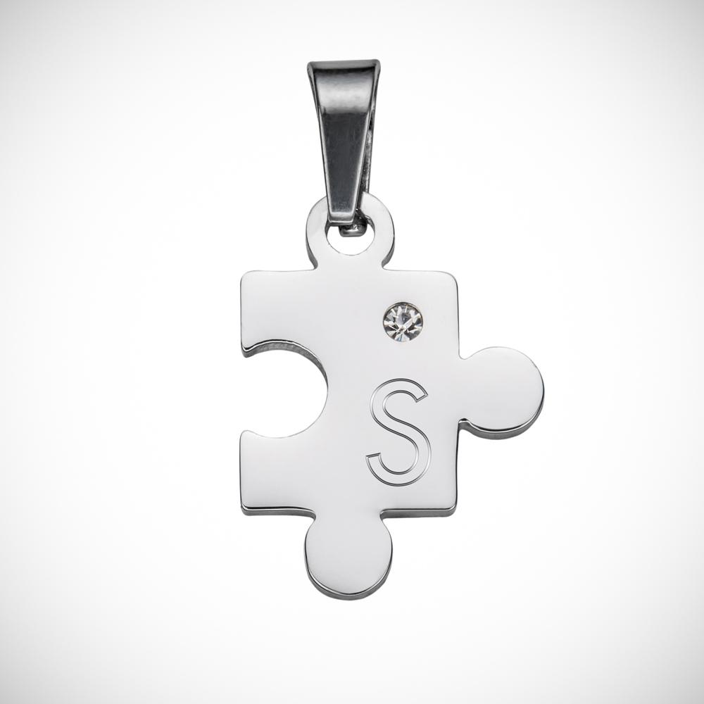 Partner Halskette mit Gravur - Puzzle Initialen - Personalisiert