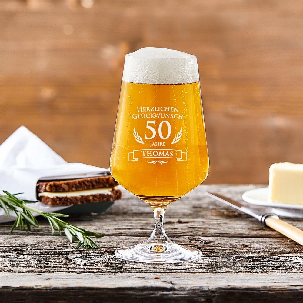 Bierglas mit Gravur - 50. Geburtstag - Pilstulpe - Personalisiert