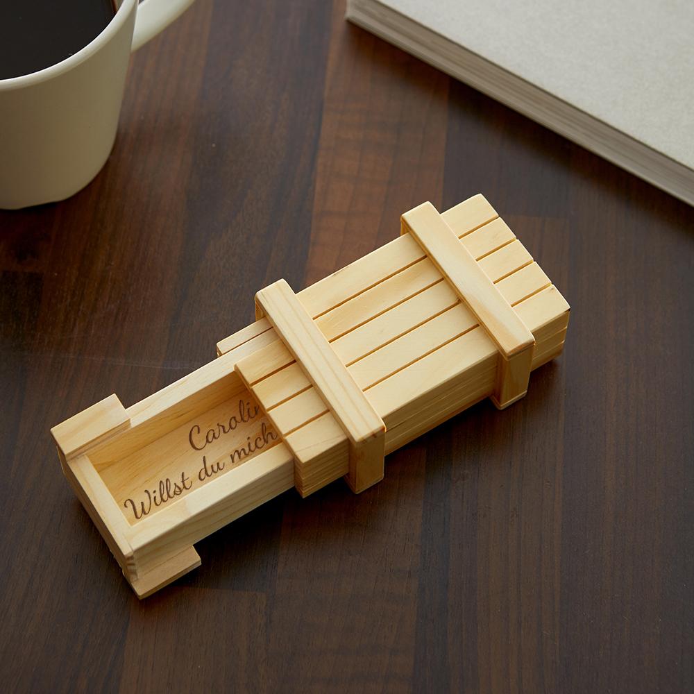Magische Geschenkbox - Heiratsantrag - Personalisiert - Helles Holz