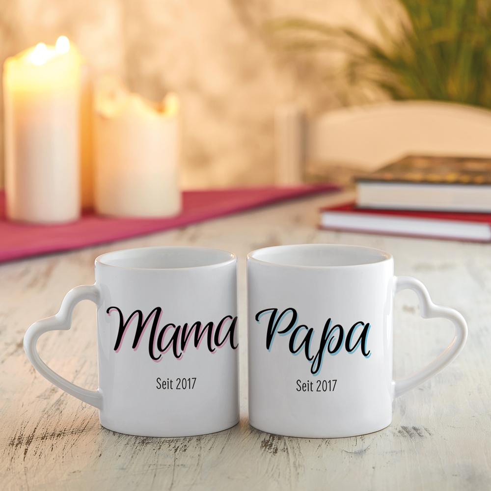 Bedruckte Tasse - 2er Set - Herz Henkel - Mama und Papa