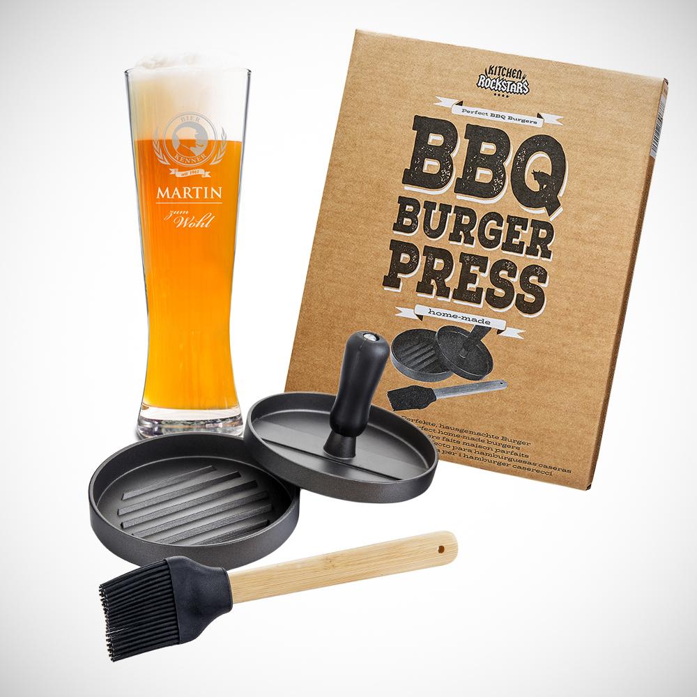 Grillset - Hamburgerpresse und Weizenglas mit Gravur - Personalisiert