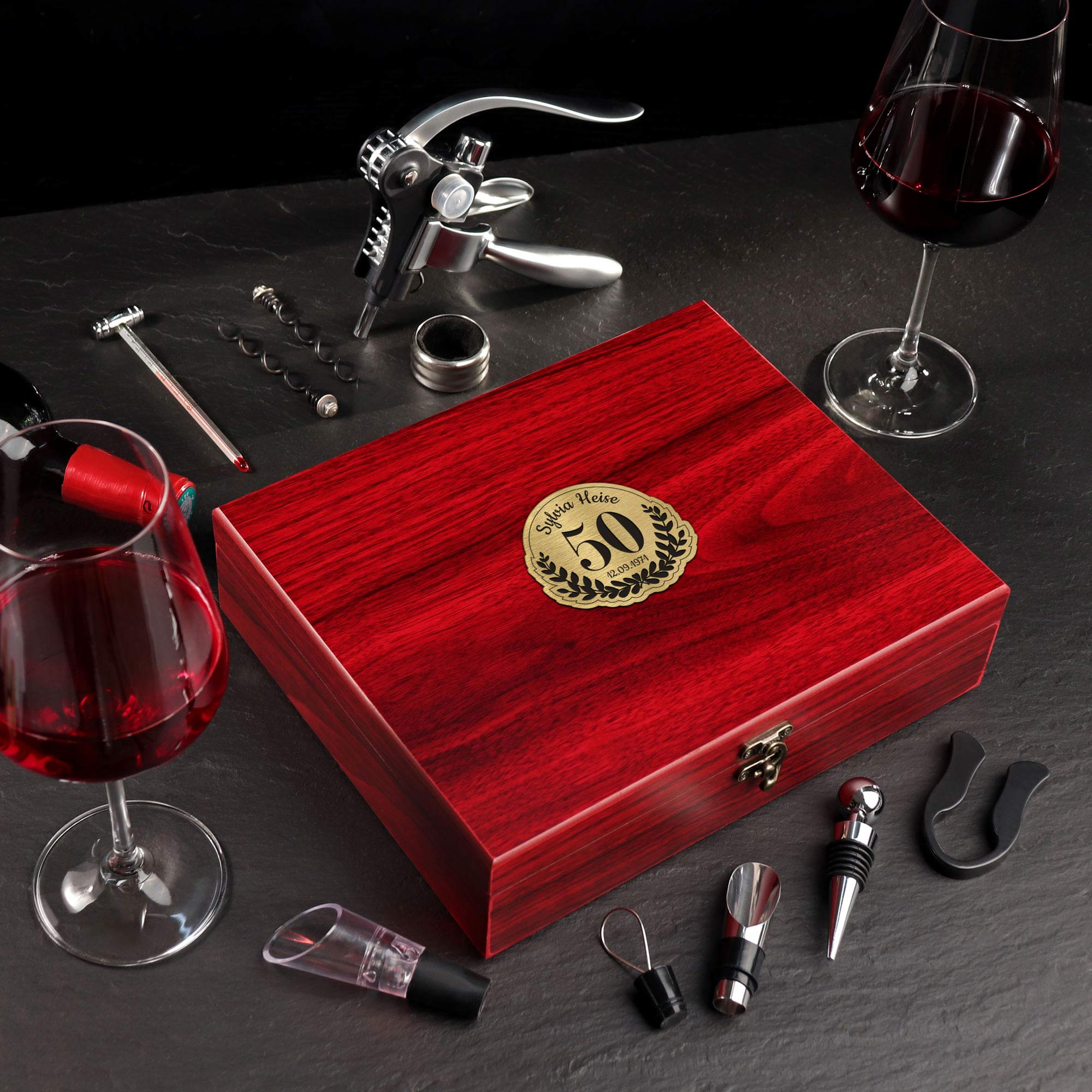 Wein Sommelier Set mit Gravur zum 50. Geburtstag