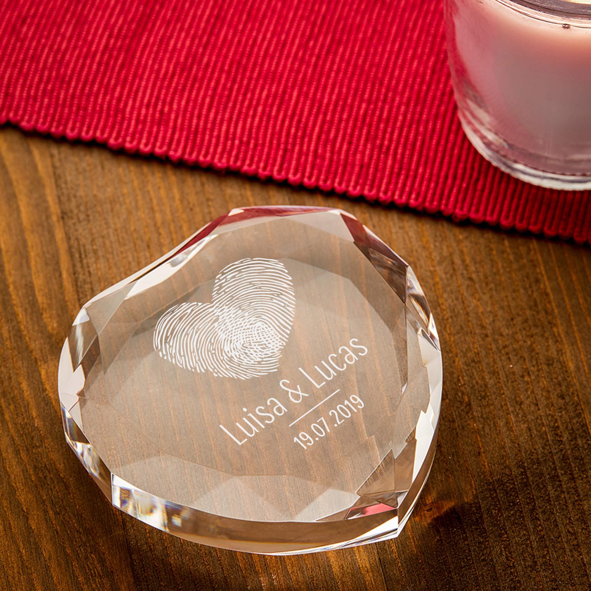 Herzkristall mit Gravur - Fingerabdruck Herz - Personalisiert