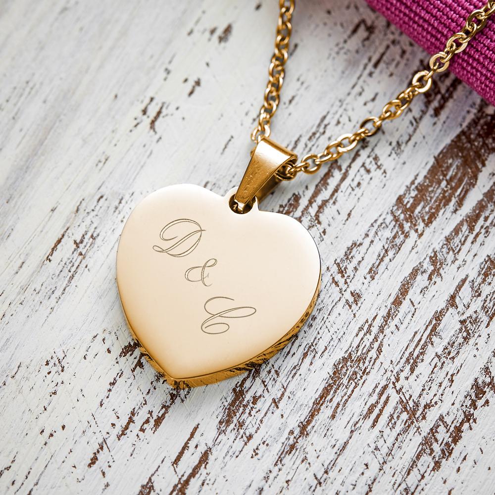 Herz Anhänger Kette mit Gravur - Initialen - Gold - Personalisiert