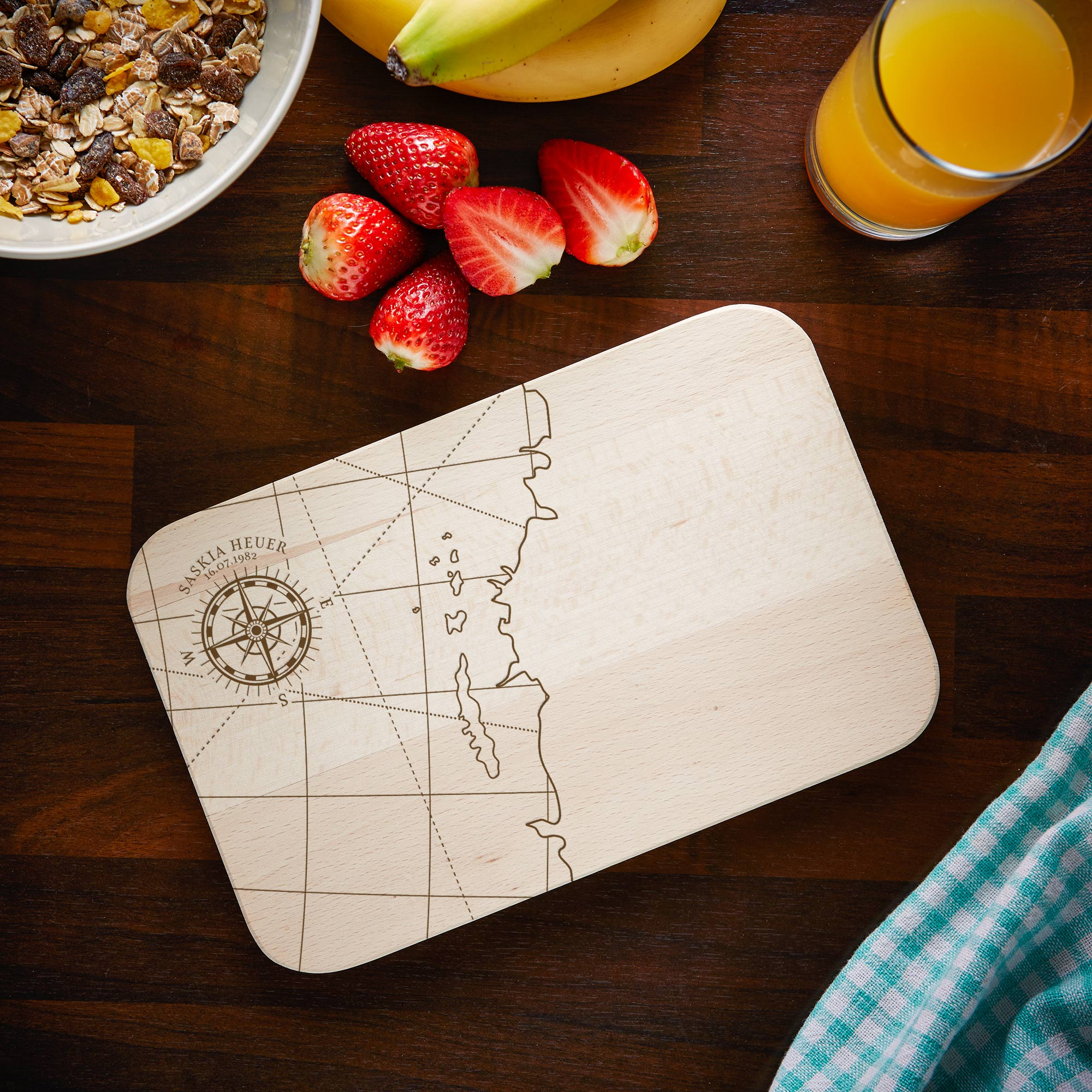Frühstücksbrett Kompass - Personalisiert
