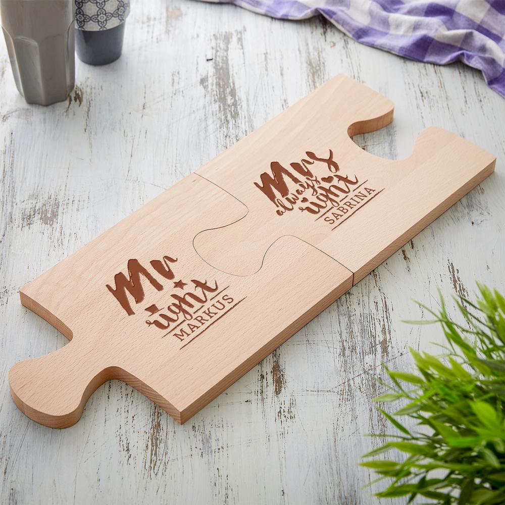 Puzzle Brett mit Gravur zur Hochzeit - 2er Set - Mr & Mrs Right