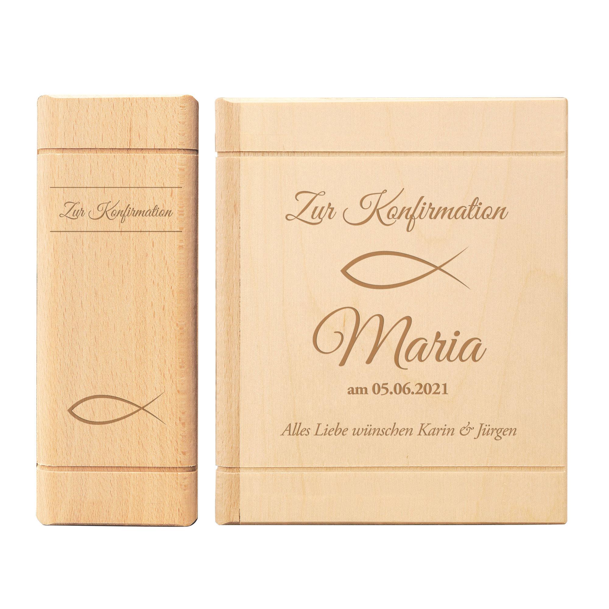 Spardose Buch aus Holz mit Gravur zur Konfirmation - Personalisiert