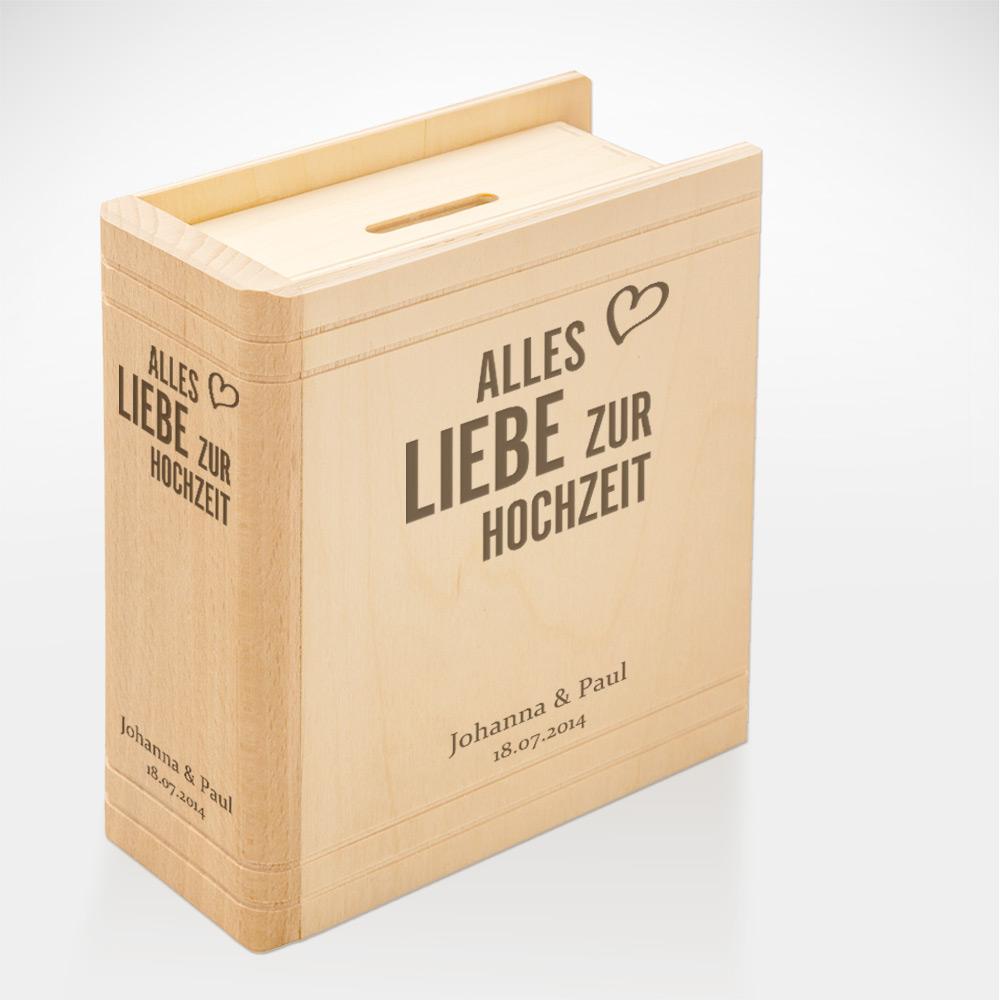 Spardose Buch aus Holz mit Gravur - Alles Liebe zur Hochzeit