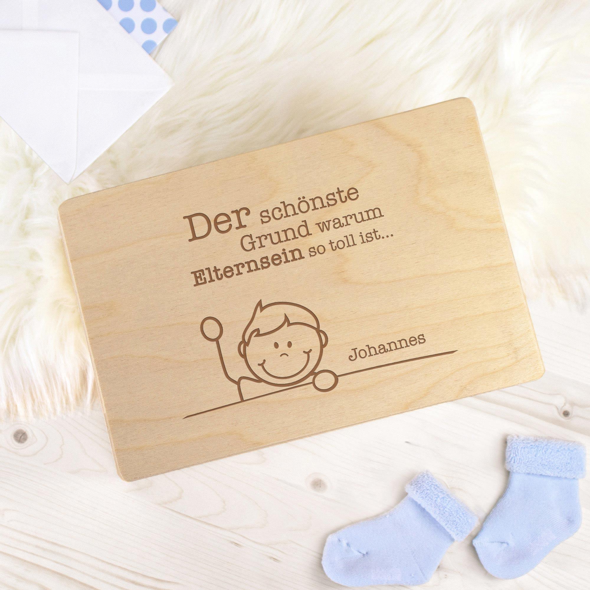 Personalisierte Erinnerungsbox mit Namensgravur - Elternsein